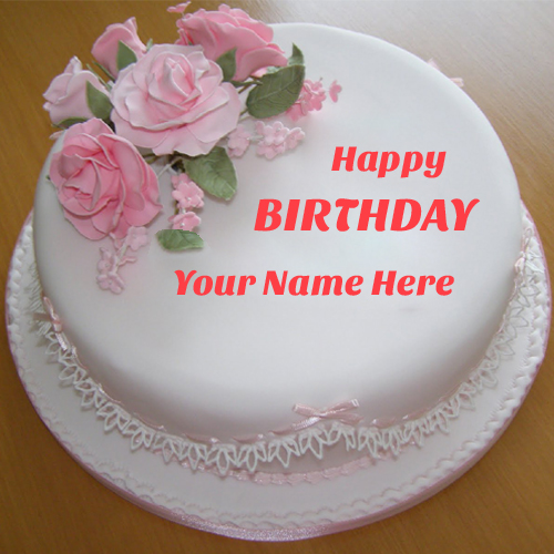 Happy Birthday Pink Roses Elegant White Cake With Name