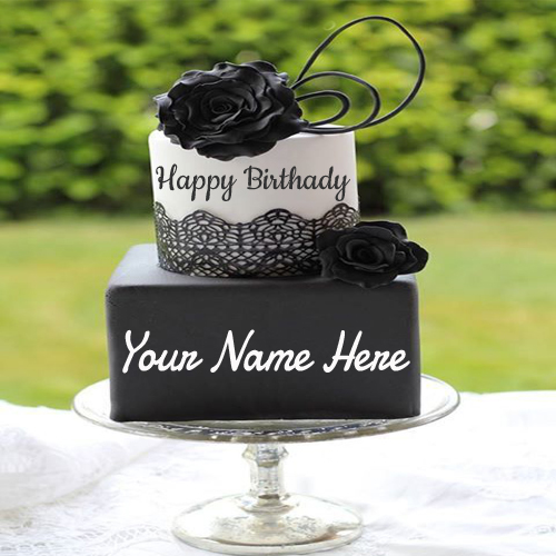 Write Name On Black Rose Birthday Cake For Girls