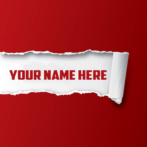 Write Your Name On Ripped Red Paper