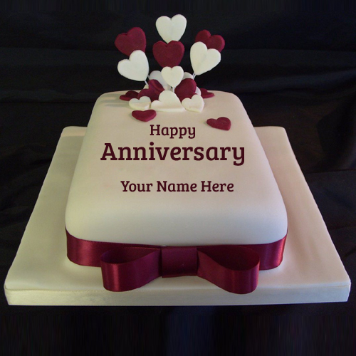 Happy Anniversary Ruby Wedding Cake With Your Name