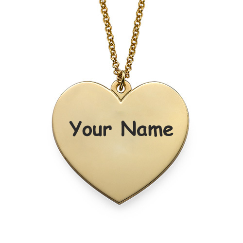 Write Name on Gold Heart Charm Necklace For Women