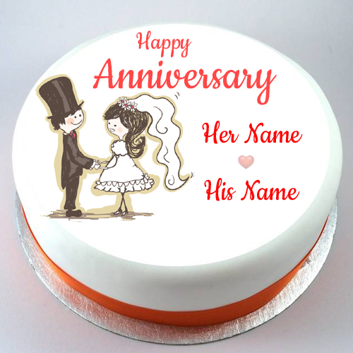 Happy Anniversary Love Couple Photo Cake With Your Name