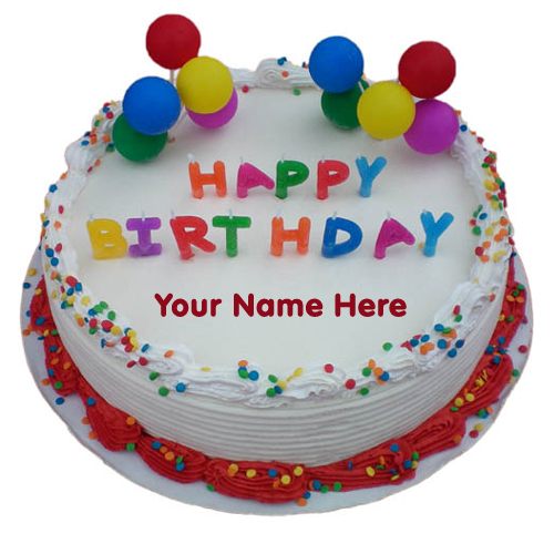 Print Online Name on Colourful Decorated Birthday Cake