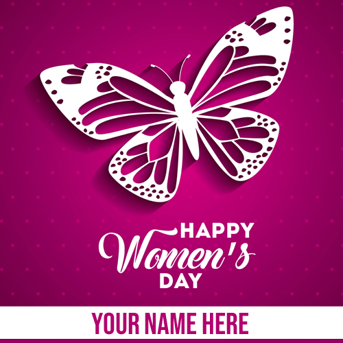 Happy Womens Day Celebration Greeting Card With Name