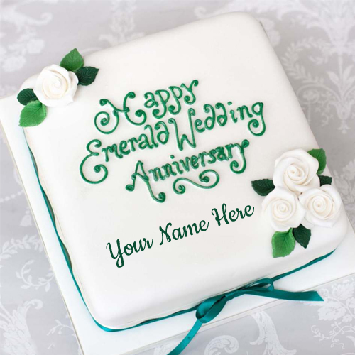 Inspirational Anniversary Emerald Cake With Your Name