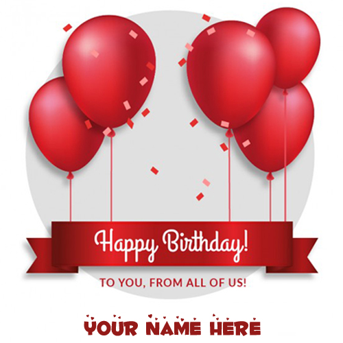 Red Balloons Birthday Wishes Card With Your Custom Name