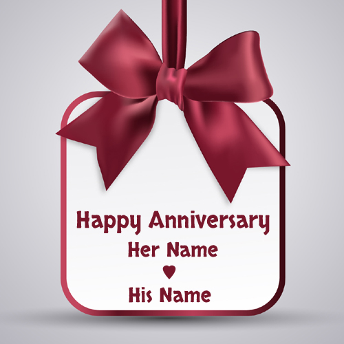 Happy Anniversary Love Note Greeting With Your Name