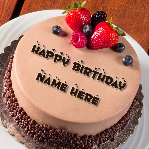 Cake Images With Name Vinod : Dark Chocolate Almond Sponge Birthday Cake With Name