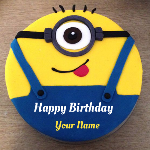 Funny Minion Cartoon Birthday Cake With Your Name