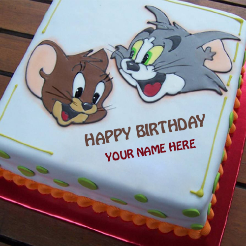 Write Name on Smiley Tom and Jerry Birthday Cake