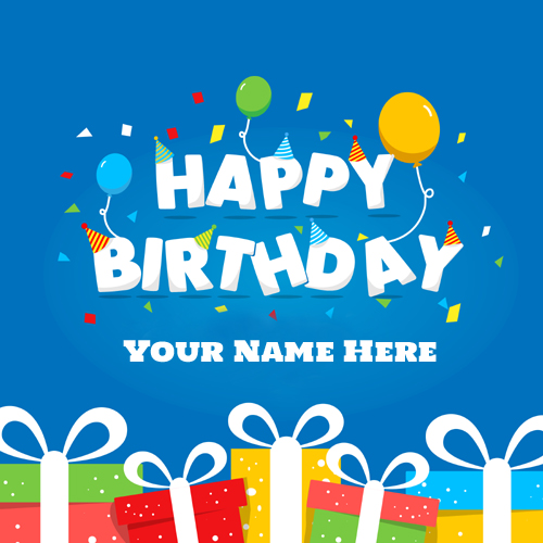 Happy Birthday Wishes With Gift Greeting Card With Name