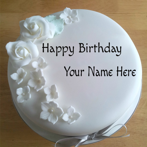 Birthday Cake Pics For Lovers : Write Your Name On White Roses Birthday Cake For Lover