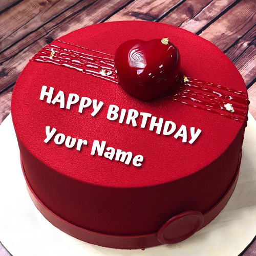 Happy Birthday Wishes Elegant Red Heart Cake With Name