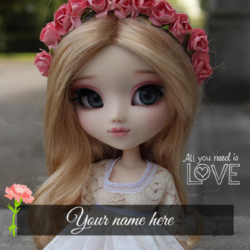 Write Your Name on Cute and Lovely Doll Greeting Card