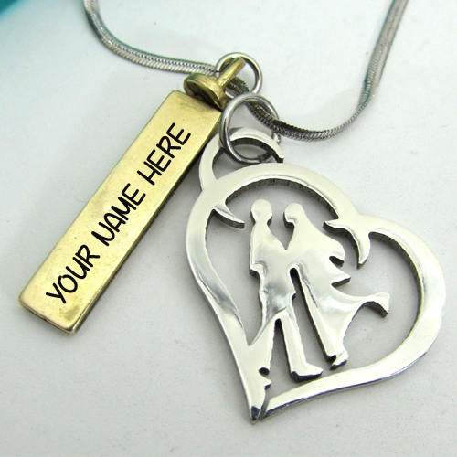 Personalized Couple Necklace With Pendant and Your Name