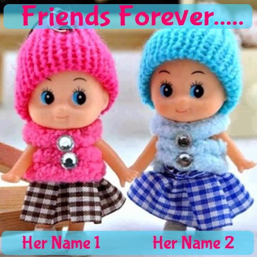 Cute Couple Dolls Whatsapp DP With Your Name