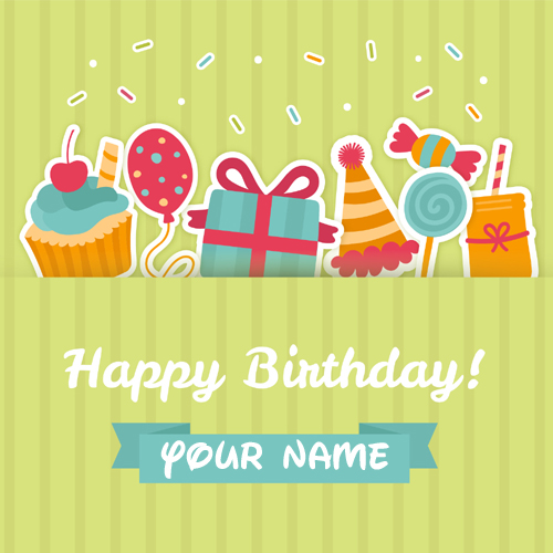 Happy Birthday Candy And Cup Cake Greeting With Name Category Cards