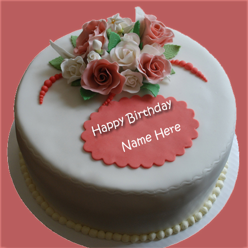 Write Name on Cake Red Elegant Birthday Cake With Name