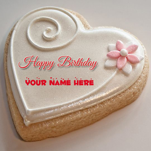 Happy Birthday Decorated Heart Cookies Cake With Name