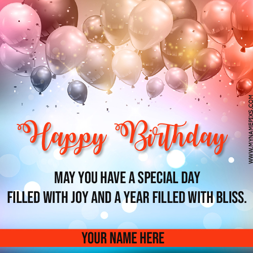 Write Name On Birthday Celebration Card With Balloons