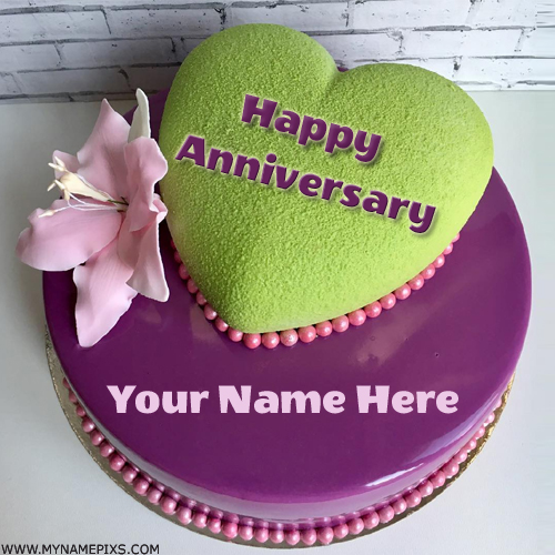 Happy Anniversary Wishes Elegant Heart Cake With Name