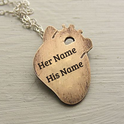 Write Name on Small Anatomical Heart Necklace Brass