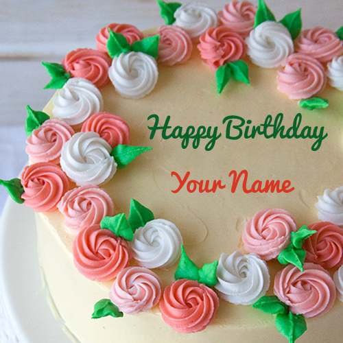 Happy Birthday Pink And Green Flower Cake With Name