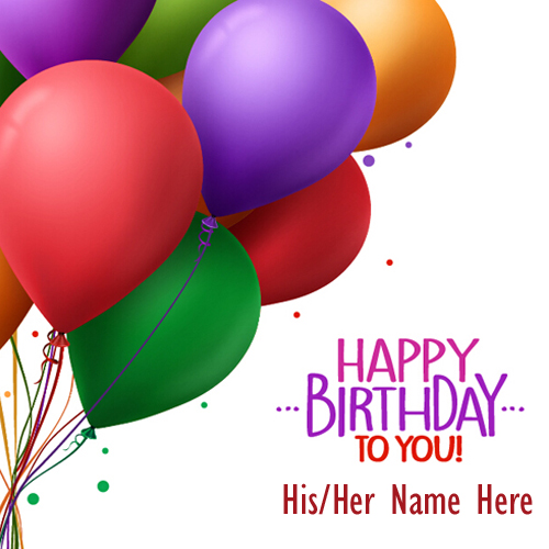 Write Name on Birthday Colorful Balloons Greeting Card