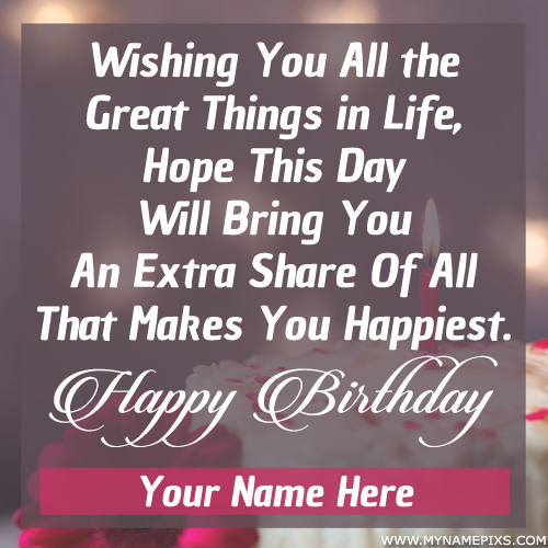 Name Birthday Card With Romantic Wishes Quotes