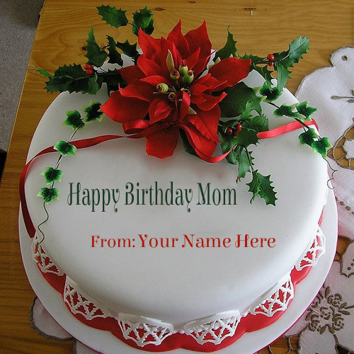 Write Your Name On Flower Birthday Cake For Mom