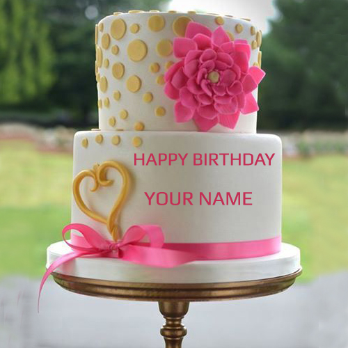 Write Your Name On Pink Rose Wedding Cake Pic