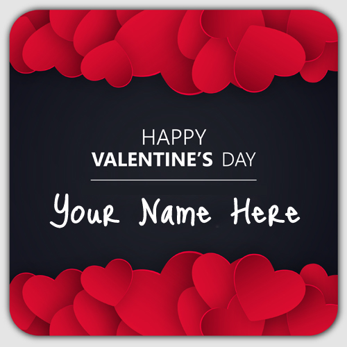 Happy Valentines Day Wishes Heart Greeting With Name