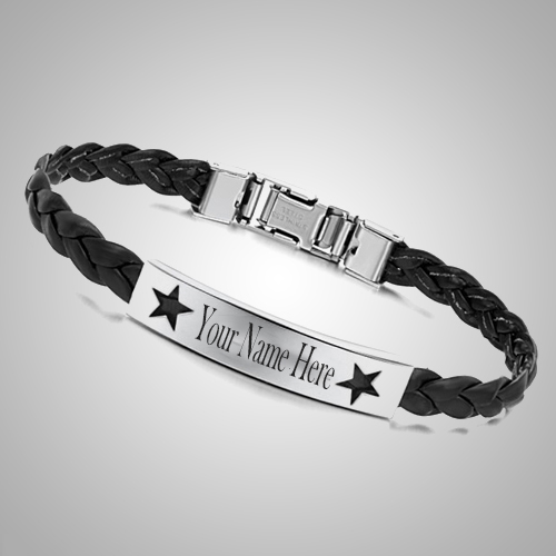 Write Your Name On Beautiful Black Leather Bracelet