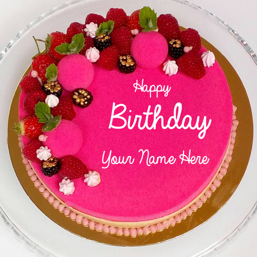 Write Name on Cake With Delicious Berries Decoration
