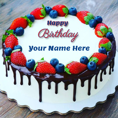 Birthday Classic Strawberry and Cherry Cake With Name