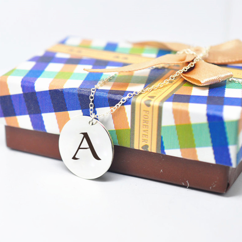 Personalized Initial Letter on Sterling Silver Necklace