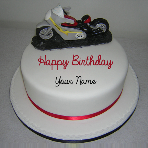 Write Name on Red Honda Sports Bike Birthday Cake