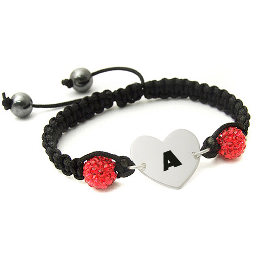 Alloy Heart Bracelet For Lover With Your Name Alphabet