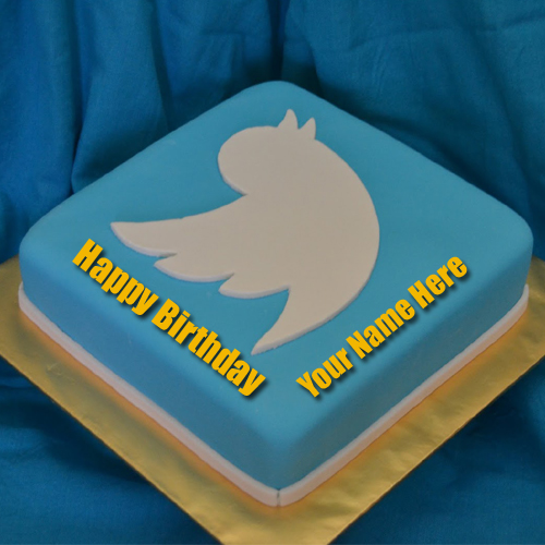 Write Name on Twitter Bird Birthday Cake Picture