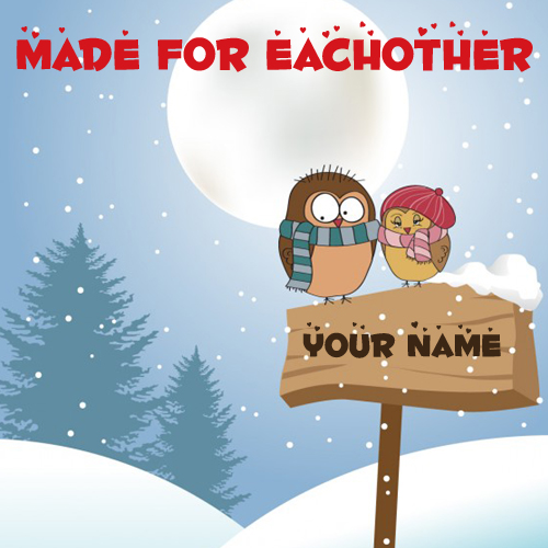 Love Birds in Winter Romantic Greeting With Your Name