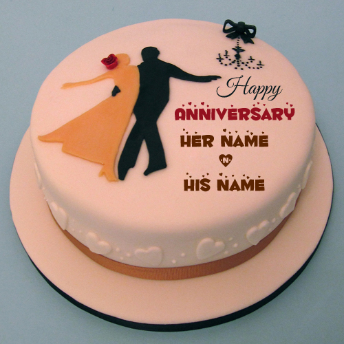 Write Name On Happy Wedding Couple Dancing Cake
