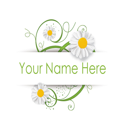 Write Your Name On Swirly Camomile Online Free