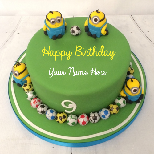 Write Name on Minions Football Theme Birthday Cake