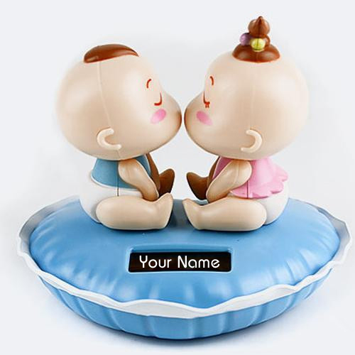 Cute Kissing Doll Couple Profile DP With Your Name