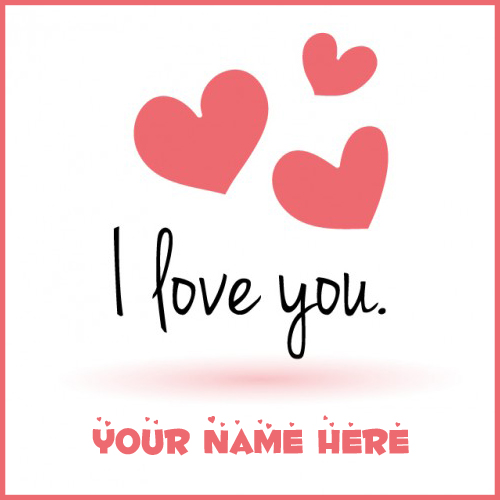 I Love You Message Pink Heart Greeting With Your Name