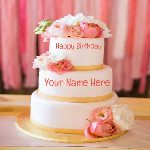 Write Your Name On Pink Flower Layered Birthday Cake