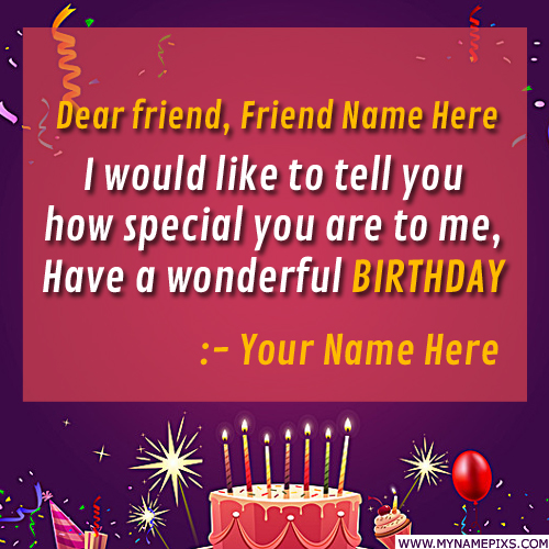 Write Name on Happy Birthday Wishes Greeting For Friend