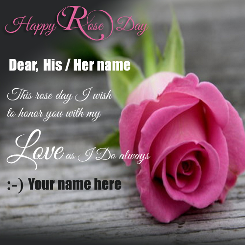 Happy Rose Day Wishes Greeting With Your Name