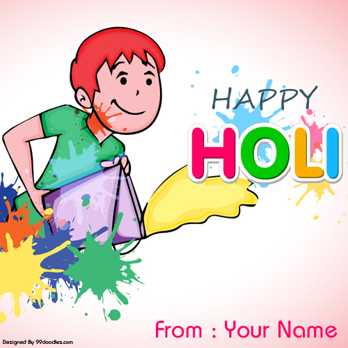 Happy Holi Wishes Colorful Greeting With Your Name