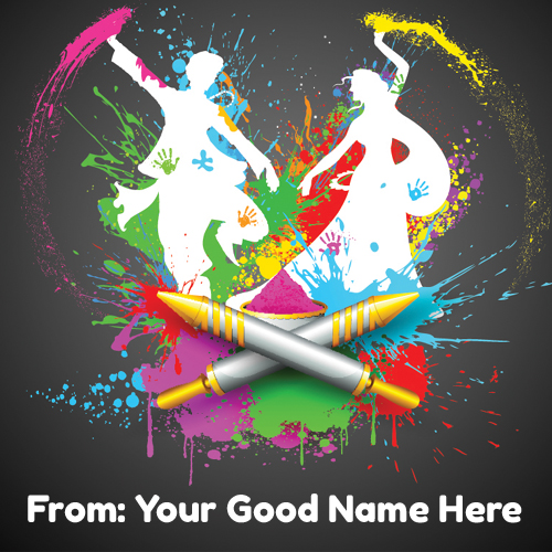 Write Your Name on Holi Celebration Greetings Online